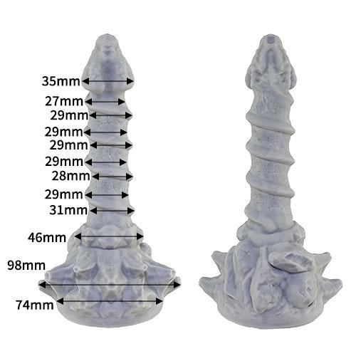亀頭35mm、挿入部長さ128mm、本体中央のドリル部31mm以下となっていて、サイズ的には一般的なディルドのMサイズぐらいです。